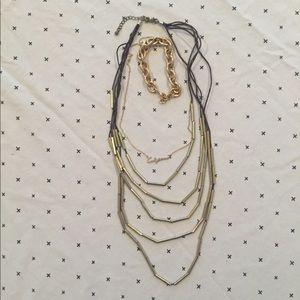 Gold tone jewelry set necklaces & chain bracelet